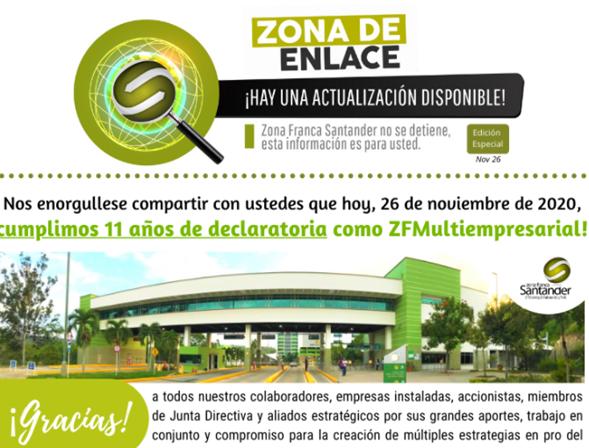 Zona Franca Santander cumple 11 años de declaratoria
